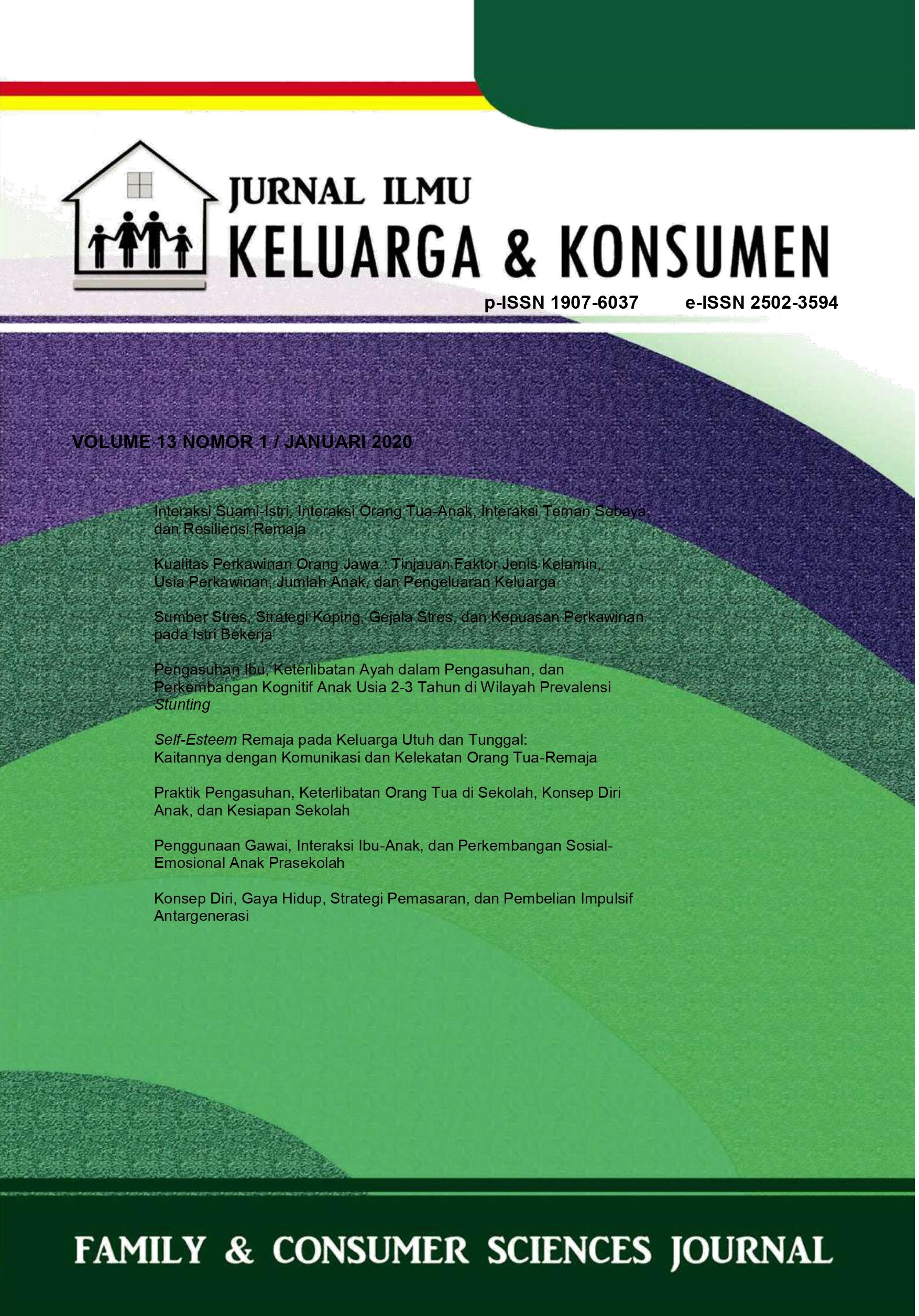 Jurnal Ilmu Keluarga dan Konsumen Volume 13 Nomor 1