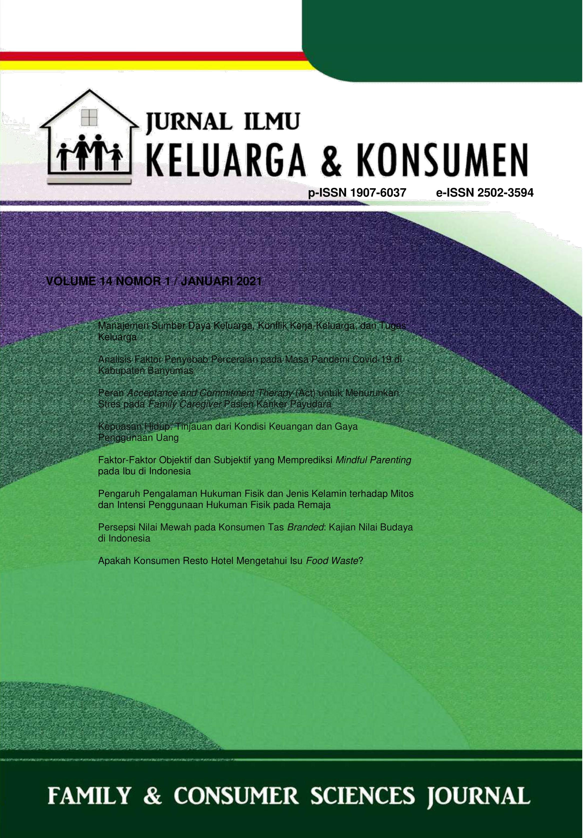 Jurnal Ilmu Keluarga dan Konsumen Volume 14 Nomor 1